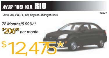 NEW '09 KIA RIO #9271 Auto, AC, PW, PL, CD, Keyless. Midnight Black 72 Months/5.99%**