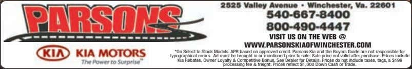 VISIT US ON THE WEB @ WWW.PARSONSKIAOFWINCHESTER.COM *On Select In Stock Models. APR based on