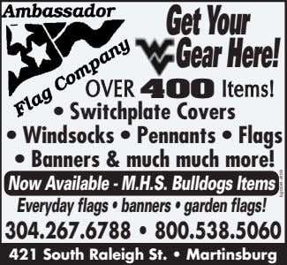 GetYour WV Gear Here! OVEROVER 400 Items!Items! • Switchplate Covers • Windsocks • Pennants •