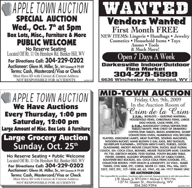 APPLETOWNAUCTION WANTED SPECIAL AUCTION Wed., Oct. 7 th at 5pm Vendors Wanted First Month FREE