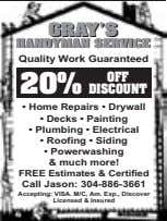 GRAY'SGRAY'S HANDYMANHANDYMAN SERVICESERVICE Quality Work Guaranteed OFFOFF 20%20% DISCOUNTDISCOUNT • Home