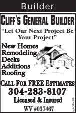"Builder CLIFF'SGENERALBUILDER ""Let Our Next Project Be Your Project"" NNewew HomesHomes RemodelingRemodeling"