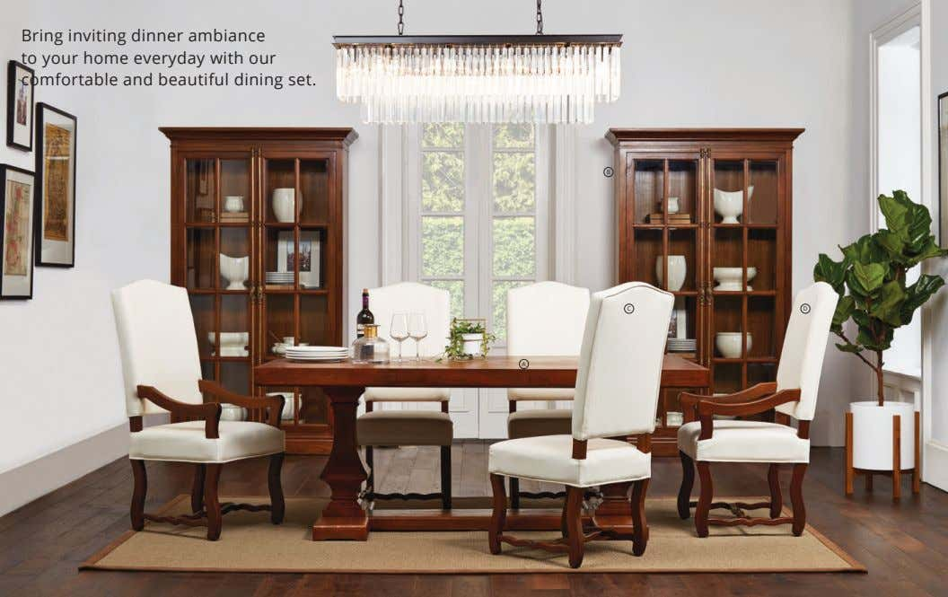 Bring inviting dinner ambiance to your home everyday with our comfortable and beautiful dining set.