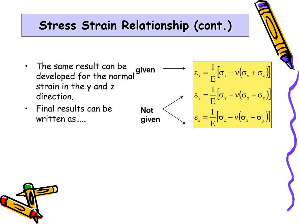 Stress Strain Relationship (cont.) • The same result can be given 1   