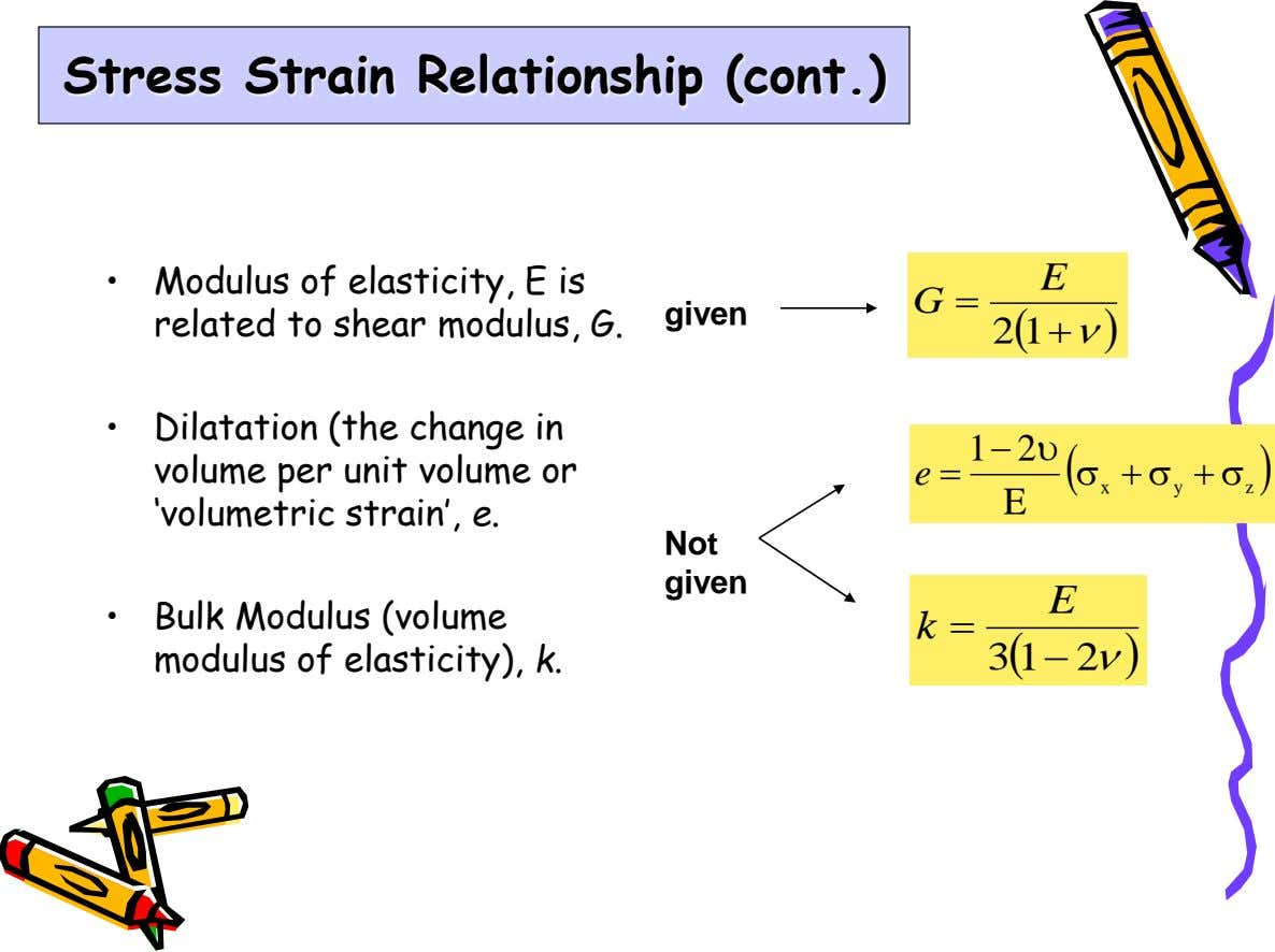 Stress Strain Relationship (cont.) E • Modulus of elasticity, E is G  given related