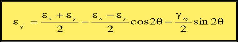 Normal and Shear Strains (cont.) Using trigonometric identities: