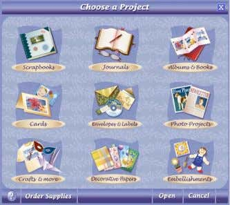 2. Click a project type in the Choose a Project screen. Selecting a Category and Layout
