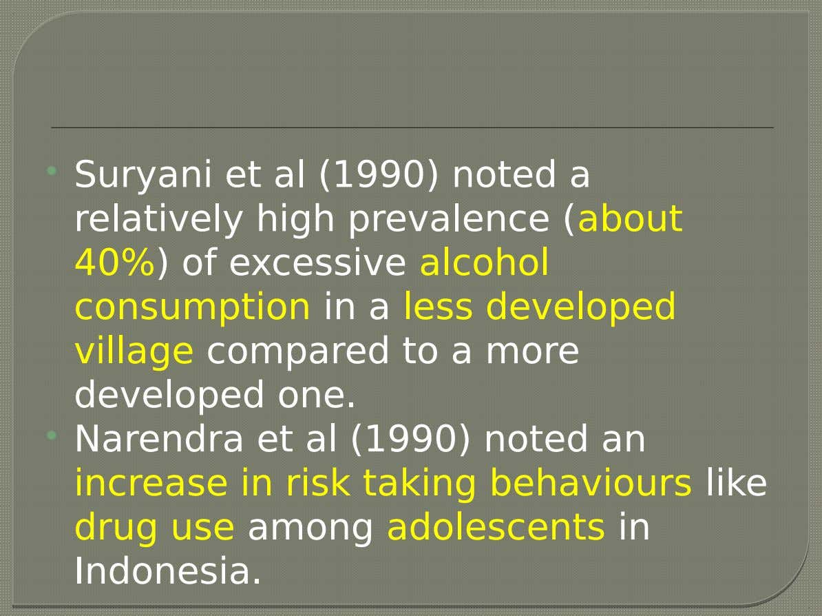  Suryani et al (1990) noted a relatively high prevalence (about 40%) of excessive alcohol consumption