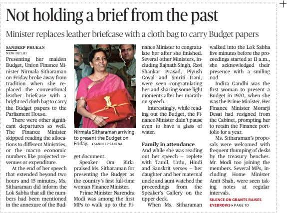 Not holding a brief from the past Minister replaces leather briefcase with a cloth bag