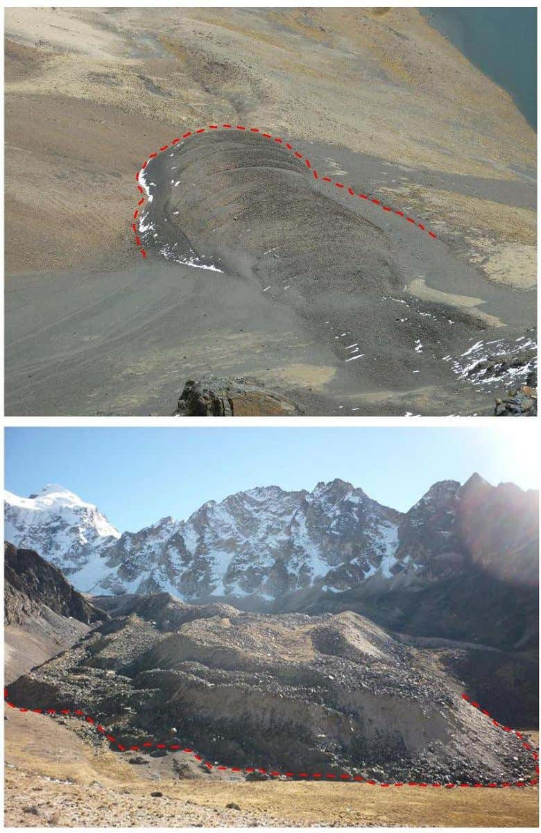 Figure 3: Typical Bolivian rock glaciers, extent marked; above, at Pico Austria, Tuni Condoriri region; below,