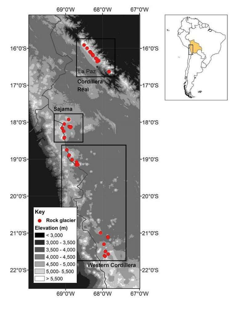 Figure 5: Active rock glaciers in the Bolivian rock glacier inventory. Red dots indicate the location