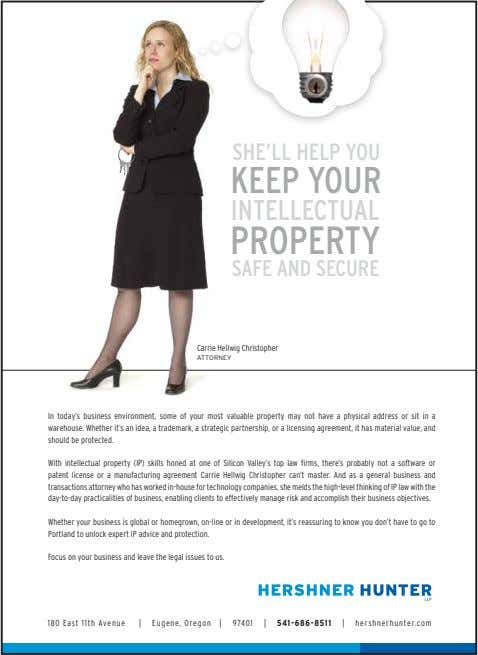 SHE'LL HELP YOU KEEP YOUR INTELLECTUAL PROPERTY SAFE AND SECURE Carrie Hellwig Christopher ATTORNEY In