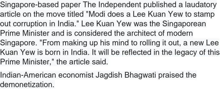"Singapore-based paper The Independent published a laudatory article on the move titled ""Modi does a Lee"