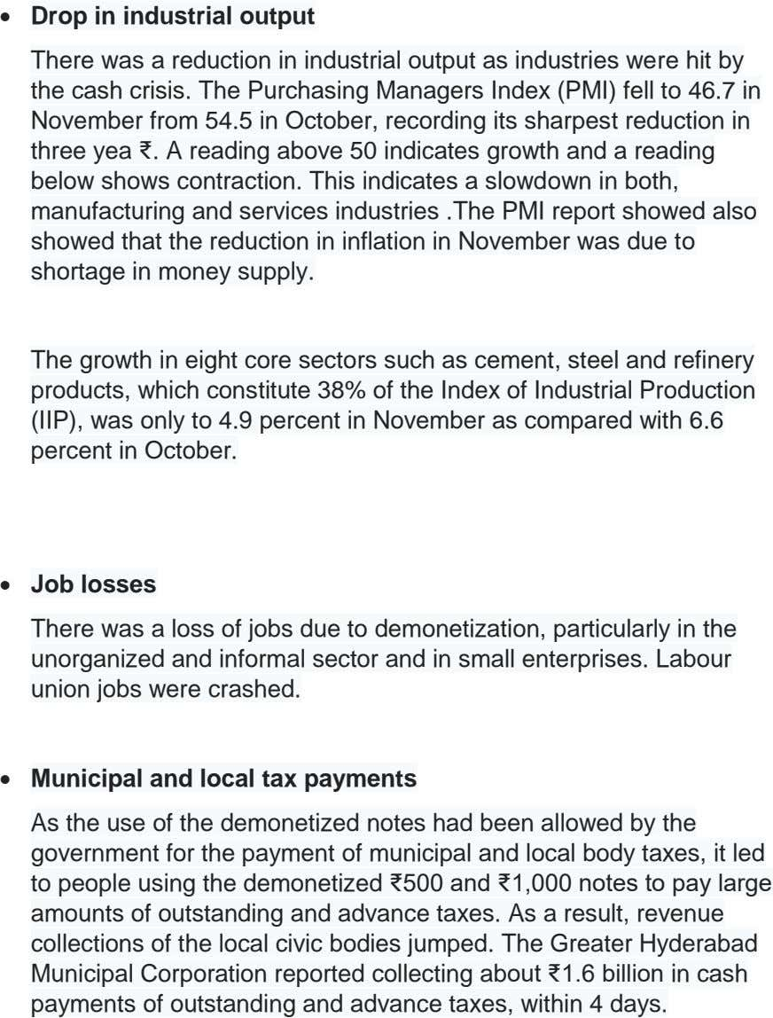  Drop in industrial output There was a reduction in industrial output as industries were hit