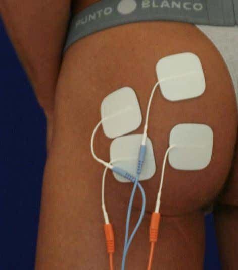 gluteus maximus only. Pad placement • Inactive electrode: Close to the great trochanter, parallel to the