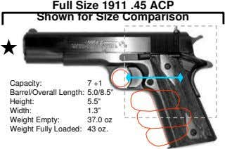 "Full Size 1911 .45 ACP Shown for Size Comparison Capacity: 7 +1 Barrel/Overall Length: 5.0/8.5"" Height:"