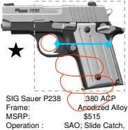 SIG Sauer P238 Frame: .380 ACP Anodized Alloy MSRP: $515 Operation : SAO; Slide Catch,