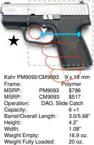 Kahr PM9093/CM9093 Frame: 9 x 19 mm Polymer MSRP: PM9093 $786 MSRP: CM9093 $517 Operation: Capacity:
