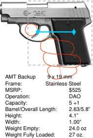 AMT Backup Frame: 9 x 19 mm Stainless Steel MSRP: $525 Operation: DAO Capacity: 5 +1