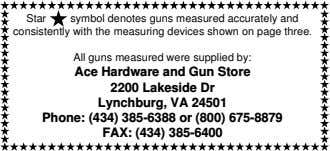 Star symbol denotes guns measured accurately and consistently with the measuring devices shown on page three.