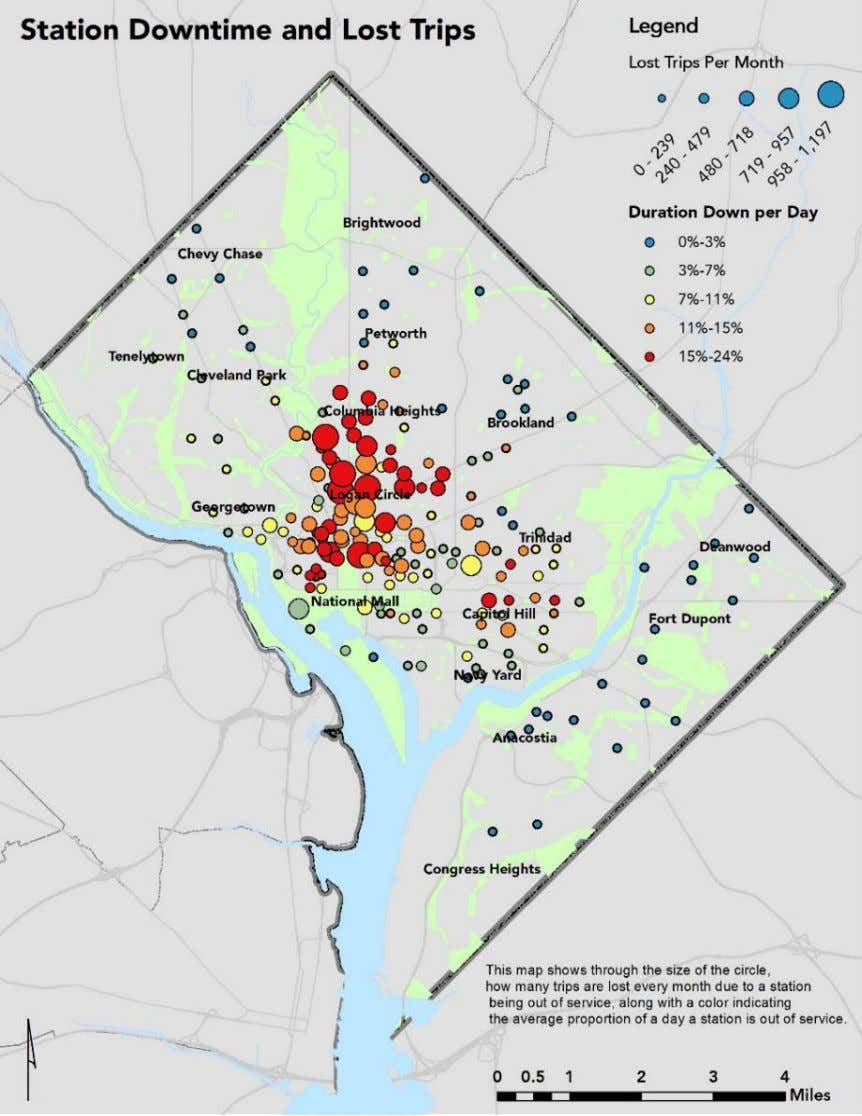 Market Study August 2016 FIGURE 3-2 | STATION DOWNTIME AND LOST TRIPS MAP DC Capital Bikeshare