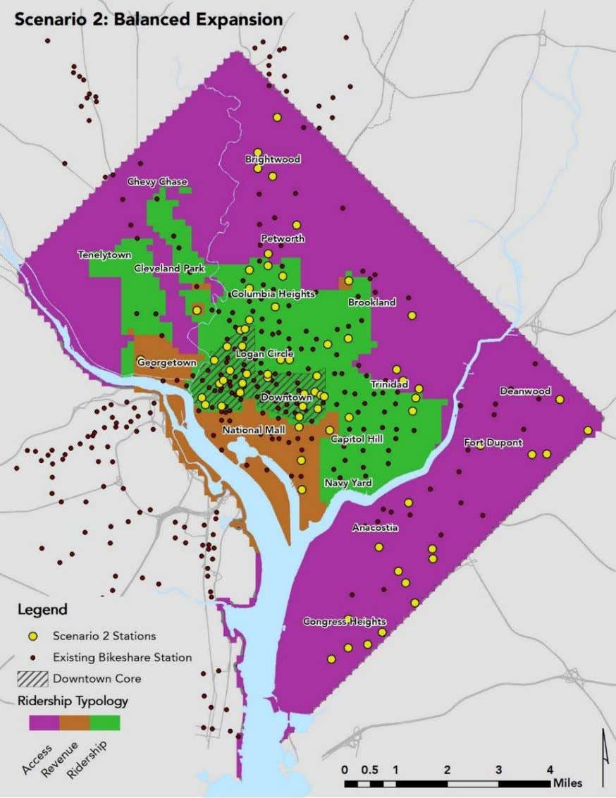 4-1 | SCENARIO 2 DISTRIBUTION OF STATIONS (FOR ILLUSTRATIVE PURPOSES ONLY) DC Capital Bikeshare Development Plan