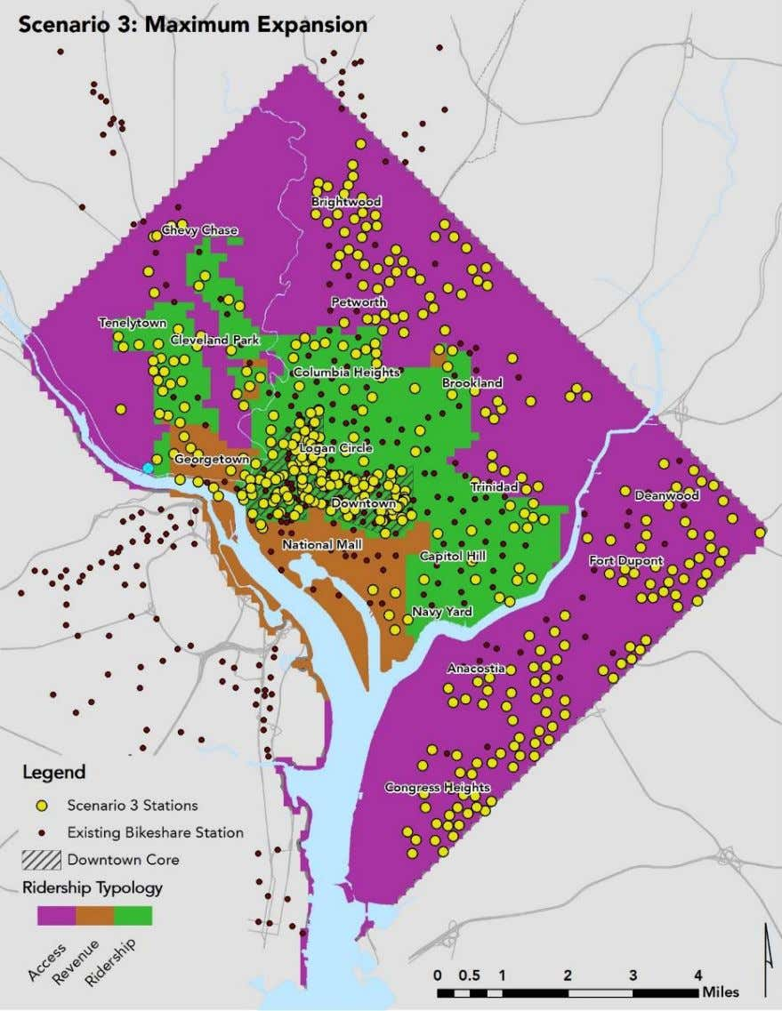4-2 | SCENARIO 3 DISTRIBUTION OF STATIONS (FOR ILLUSTRATIVE PURPOSES ONLY) DC Capital Bikeshare Development Plan