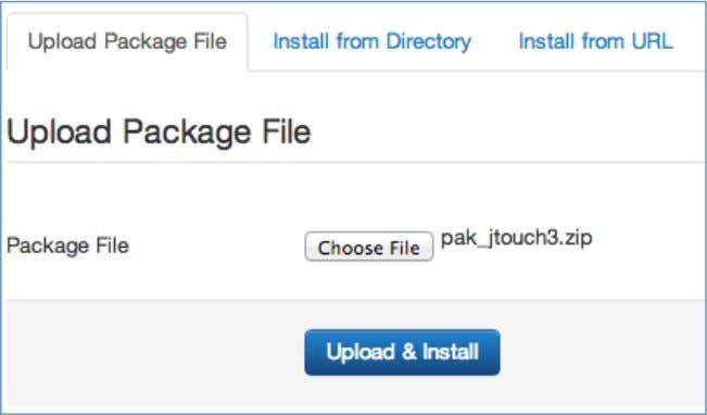 the Upload & Install button to install the package . Figure 1 The following message will