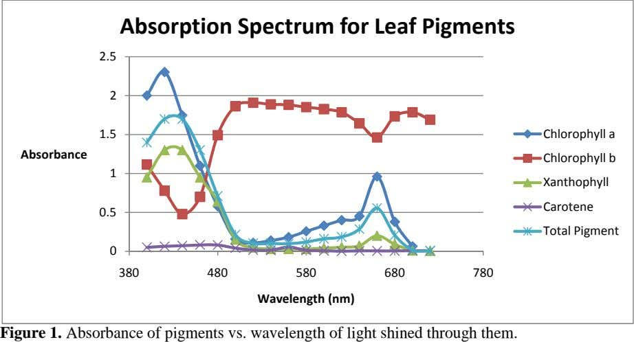 Absorption Spectrum for Leaf Pigments 2.5 2 1.5 Chlorophyll a Absorbance Chlorophyll b 1 Xanthophyll