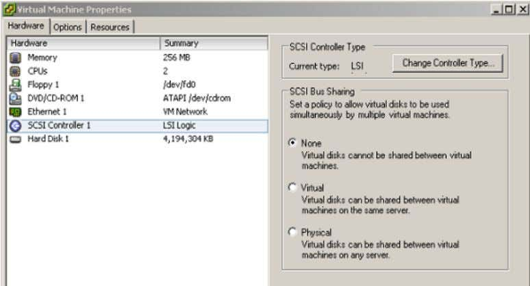 Guide Figure 2-2. Setting the SCSI Controller Type  The HBA visible to the SAN administration