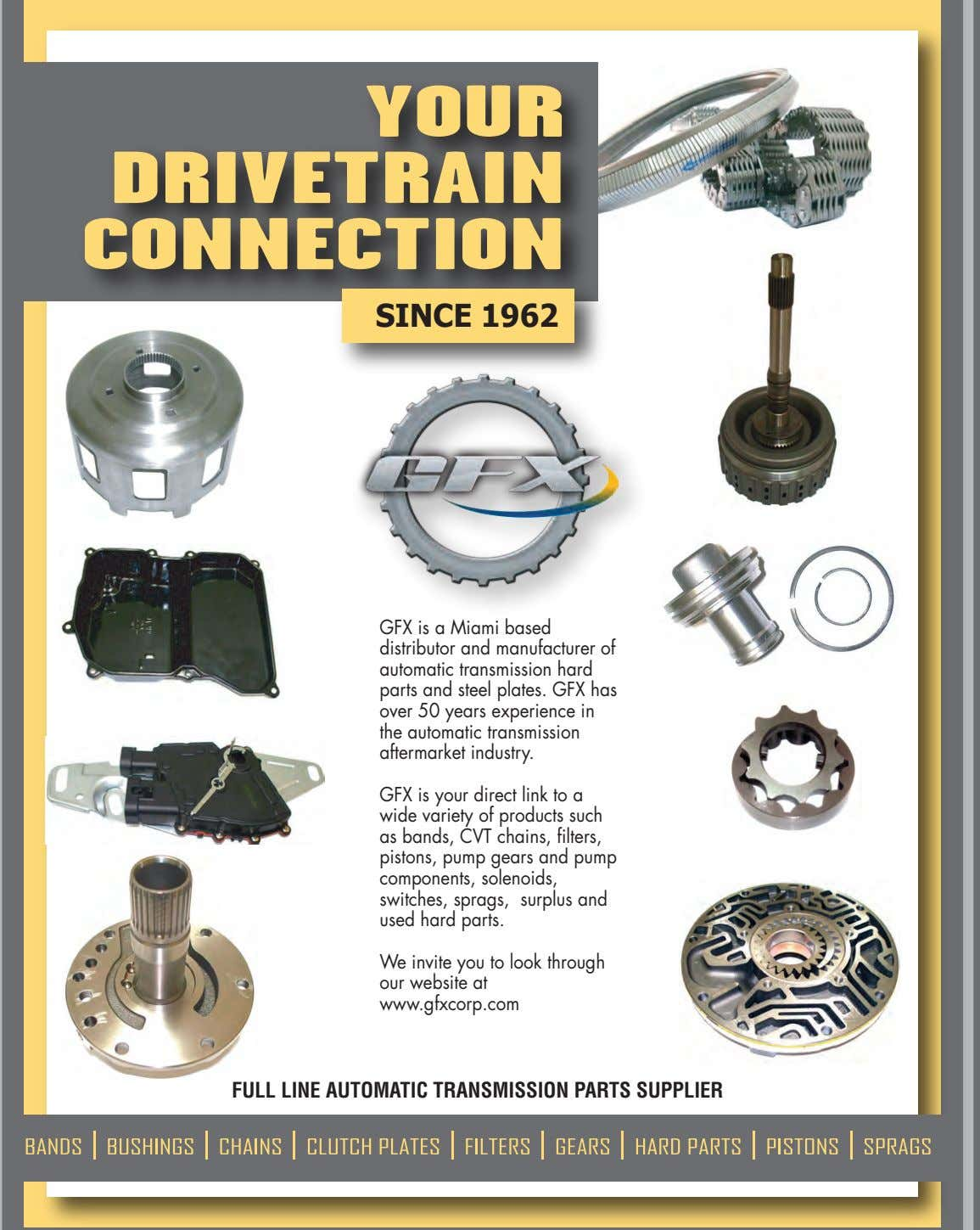 YOUR DRIVETRAIN CONNECTION SINCE 1962 GFX is a Miami based distributor and manufacturer of automatic