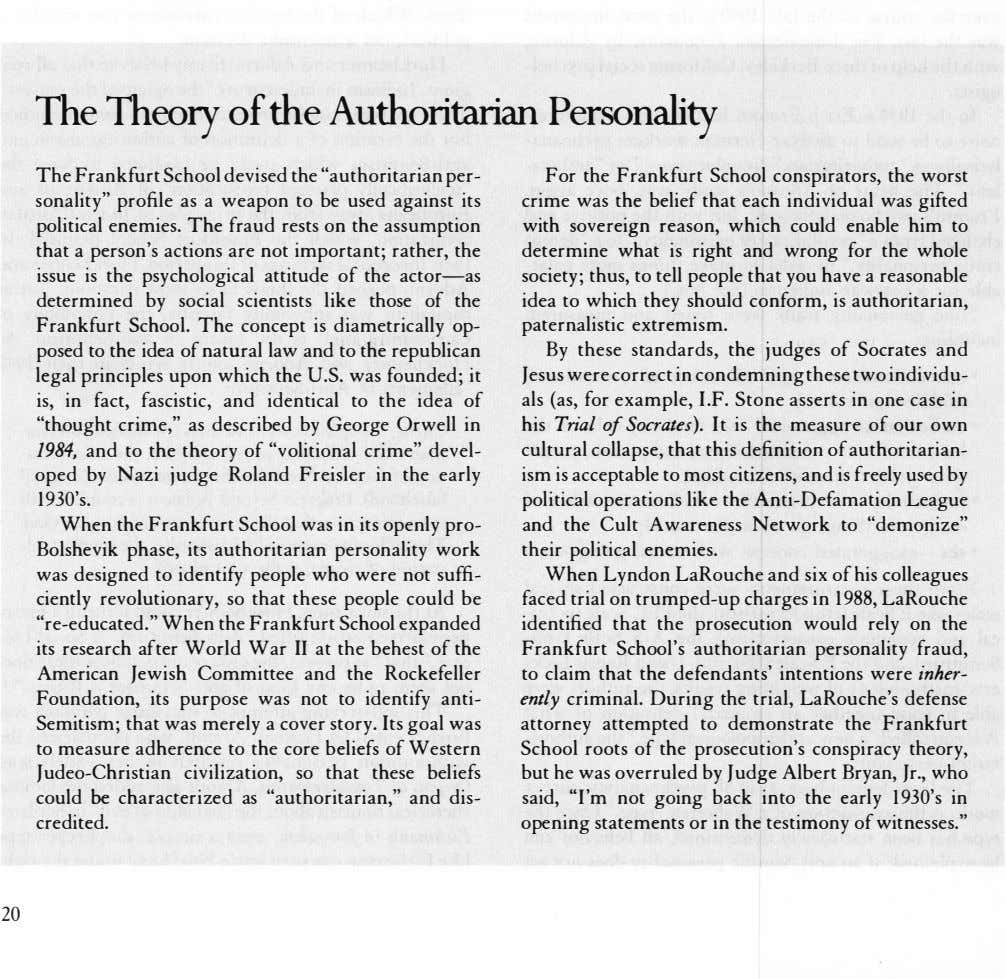 "The Theory ofthe Authoritarian Personality The Frankfurt School devised the ""authoritarian per­ sonality"""