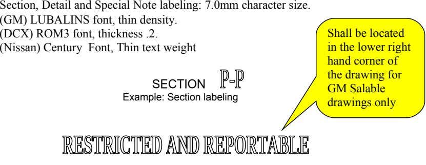 Section, Detail and Special Note labeling: 7.0mm character size. (GM) LUBALINS font, thin density. (DCX) ROM3