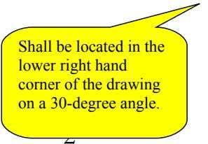 Shall be located in the lower right hand corner of the drawing ∑ on a 30-degree