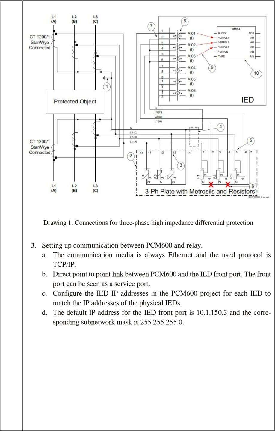 Drawing 1. Connections for three-phase high impedance differential protection 3. Setting up communication between PCM600