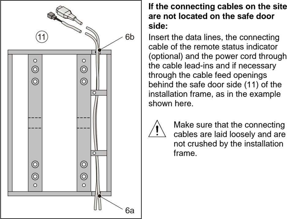 If the connecting cables on the site are not located on the safe door side: