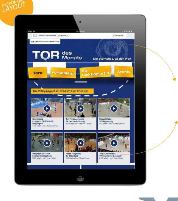 "RESULT SPORTS RESPONSIVE LAYOUT Facebook applikationen FUNCTION Video-Voting zum ""Tor des Monats"" der DKB Handball"