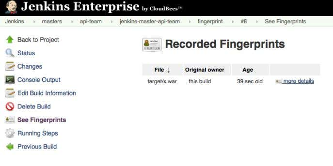 Continuous Delivery with Jenkins Workflow Figure 4.3. List of fingerprinted files To find where an artifact