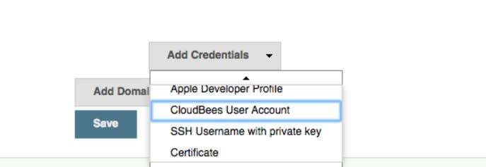 CloudBees Services Figure 7.3. Adding CloudBees Credentials, #2 Figure 7.4. Adding CloudBees Credentials, #3 Go to