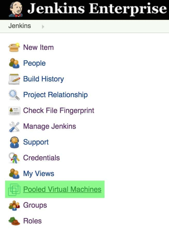 "On the left menu, select ""Pooled Virtual Machines"" Figure 7.11. Viewing Pooled Virtual Machines Then click"