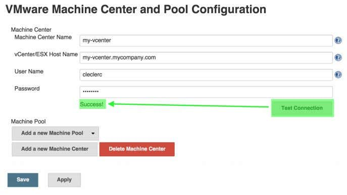 "and verify them clicking on ""Test Connection"" Figure 7.13. Testing vCenter VM connections You can now"
