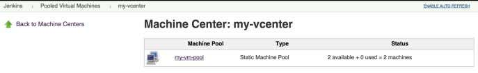 "desired ""Machine Pool"" (e.g. ""my-vm-pool""): Figure 7.25. Managing vSphere machines, #2 The status screen"