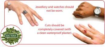 Jewellery and watches should not be worn. Cuts should be completely covered (with a clean