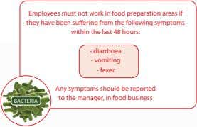 Employees must not work in food preparation areas if they have been suffering from the