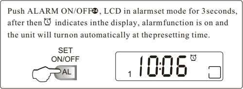Push ALARM ON/OFF 24 , LCD in alarm set mode for 3 seconds, after then