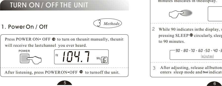 TURN ON / OFF THE UNIT Methods 1. Power On / Off Press POWER ON
