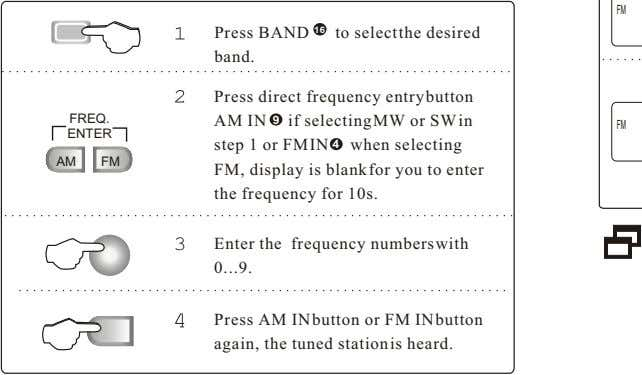 Press BAND 16 to select the desired band. Press direct frequency entrybutton FREQ. AM IN