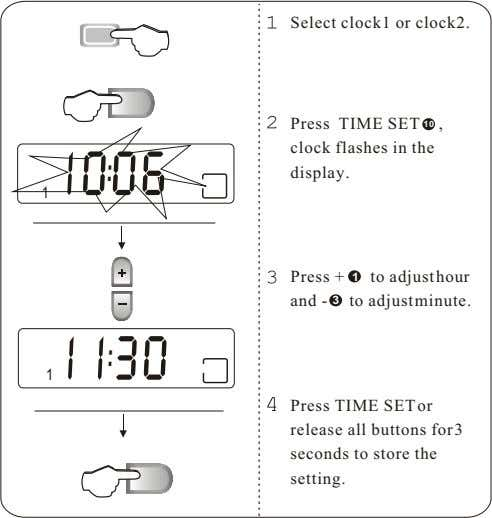Select clock1 or clock2. Press TIME SET 10 , clock flashes in the : 006