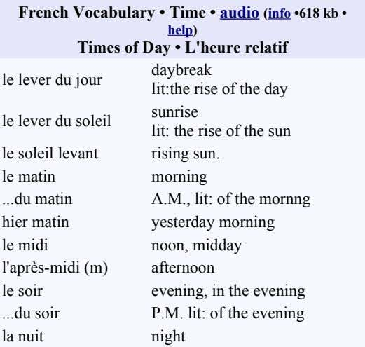 French Vocabulary • Time • audio (info •618 kb • help) Times of Day •