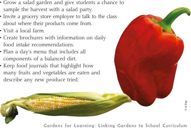 • Grow a salad garden and give students a chance to sample the harvest with